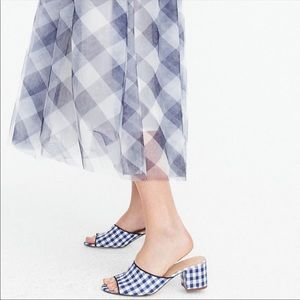 J Crew Gingham block heel mule Never Worn